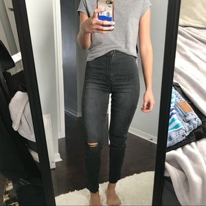 Skinny High Waist Ripped Ankle Jeans